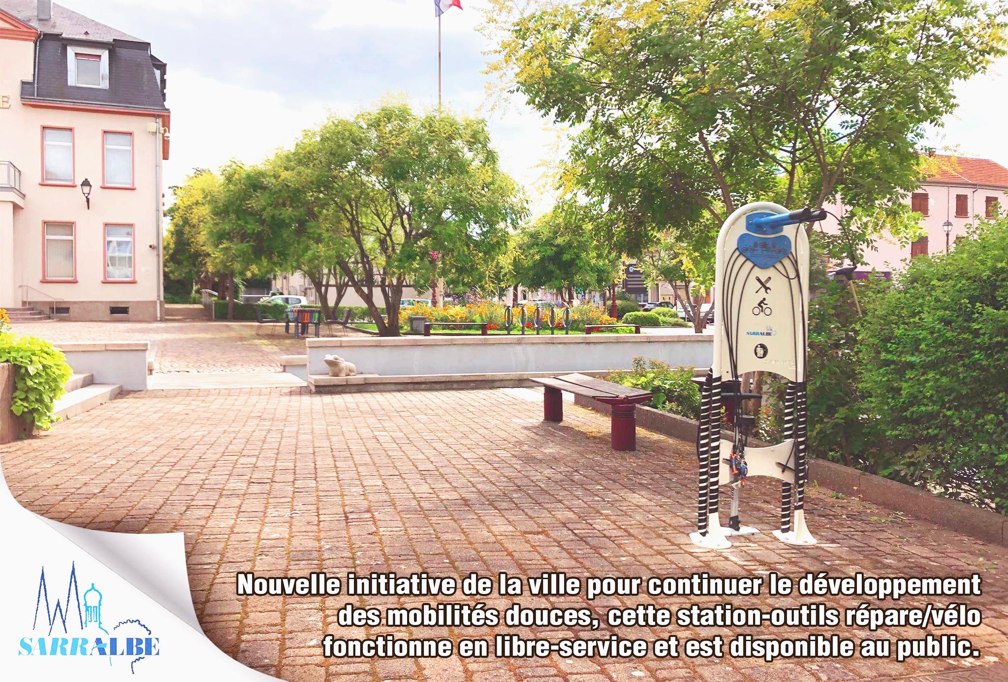 La ville de Sarralbe met à la disposition des cyclistes notre station de réparation vélo.